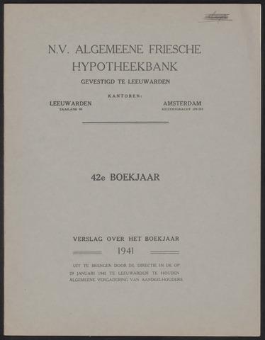 Jaarverslagen Algemeene Friesche Hypotheekbank 1941