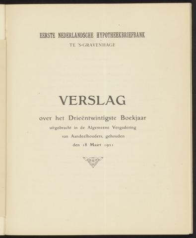 Jaarverslagen Eerste Nederlansche Hypotheekbriefbank 1920