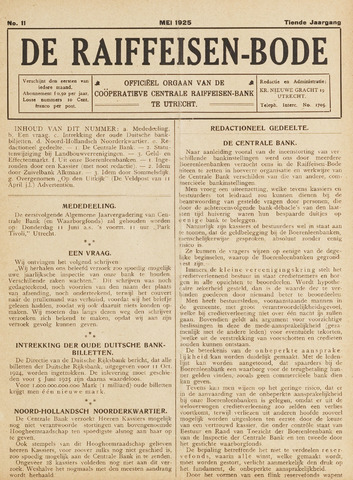 blad 'De Raiffeisen-bode' (CCRB) 1925-05-01