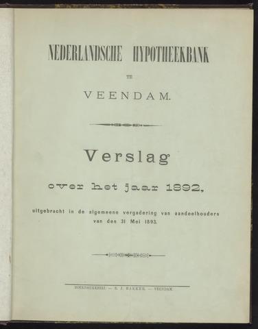 Jaarverslagen Nederlandsche Hypotheekbank 1892