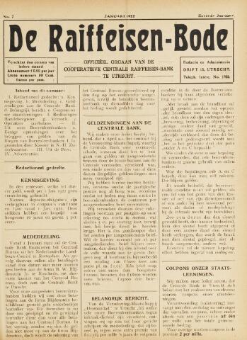 blad 'De Raiffeisen-bode' (CCRB) 1922-01-01
