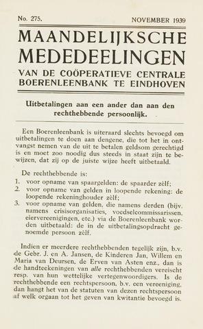 blad 'Maandelijkse Mededelingen' (CCB) 1939-11-01