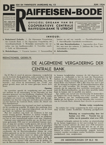 blad 'De Raiffeisen-bode' (CCRB) 1936-06-01