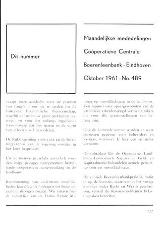 blad 'Maandelijkse Mededelingen' (CCB) 1961-10-01