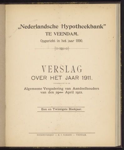 Jaarverslagen Nederlandsche Hypotheekbank 1911