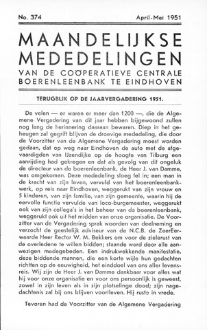 blad 'Maandelijkse Mededelingen' (CCB) 1951-04-01