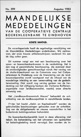 blad 'Maandelijkse Mededelingen' (CCB) 1953-08-01