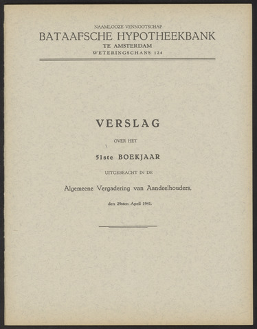 Jaarverslagen Bataafsche Hypotheekbank 1940