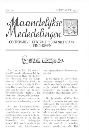 blad 'Maandelijkse Mededelingen' (CCB) 1955-09-01