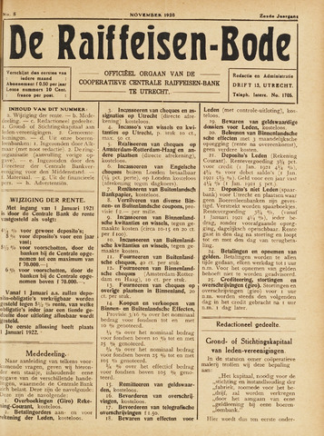 blad 'De Raiffeisen-bode' (CCRB) 1920-11-01