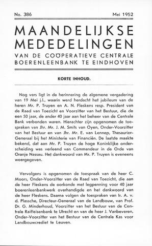 blad 'Maandelijkse Mededelingen' (CCB) 1952-05-01