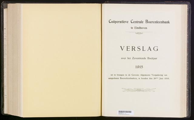 Jaarverslagen Coöperatieve Centrale Boerenleenbank 1915