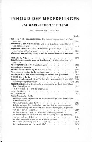 blad 'Maandelijkse Mededelingen' (CCB) 1950