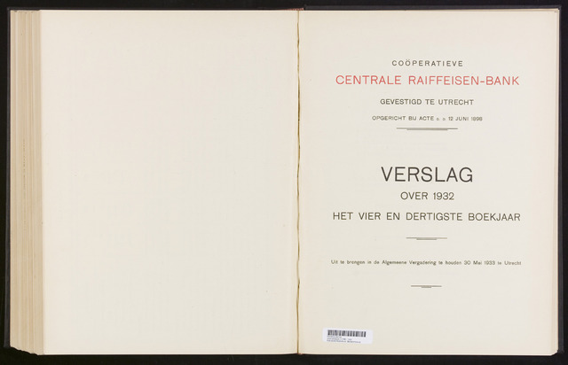 Jaarverslagen Coöperatieve Centrale Raiffeisen-Bank 1932-12-31