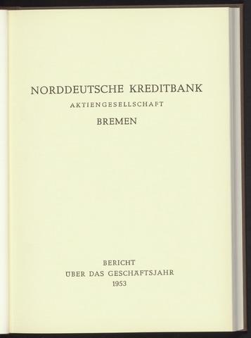 Geschäftsberichte Norddeutsche Kreditbank 1953-01-01