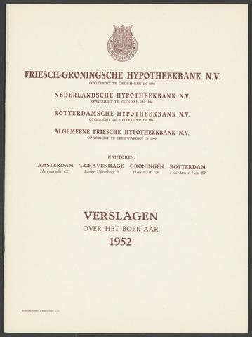 Jaarverslagen Friesch-Groningsche Hypotheekbank / FGH Bank 1952
