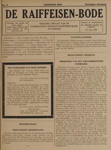 blad 'De Raiffeisen-bode' (CCRB) 1934-08-01