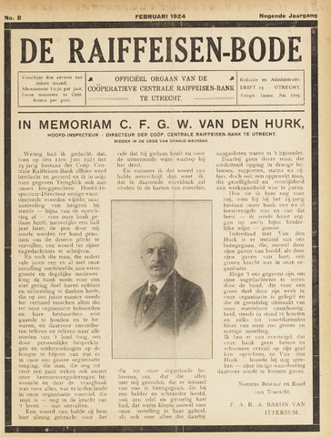 blad 'De Raiffeisen-bode' (CCRB) 1924-02-01
