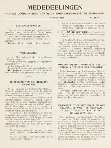 blad 'Mededeelingen' (CCB) 1918-02-01