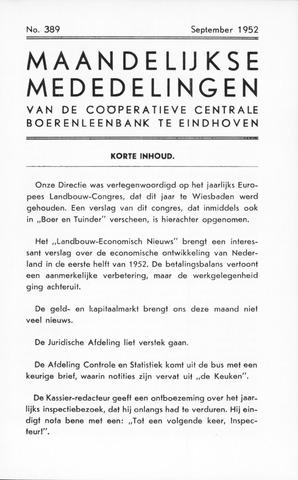 blad 'Maandelijkse Mededelingen' (CCB) 1952-09-01
