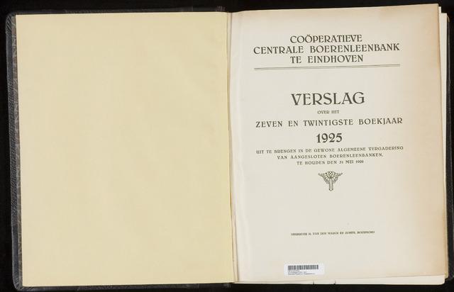 Jaarverslagen Coöperatieve Centrale Boerenleenbank 1925-12-31