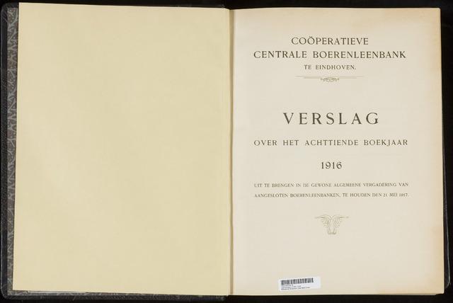 Jaarverslagen Coöperatieve Centrale Boerenleenbank 1916-12-31