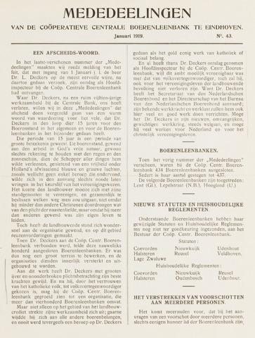 blad 'Mededeelingen' (CCB) 1919-01-01