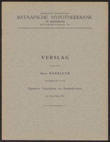 Jaarverslagen Bataafsche Hypotheekbank 1930