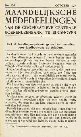 blad 'Maandelijkse Mededelingen' (CCB) 1927-10-01