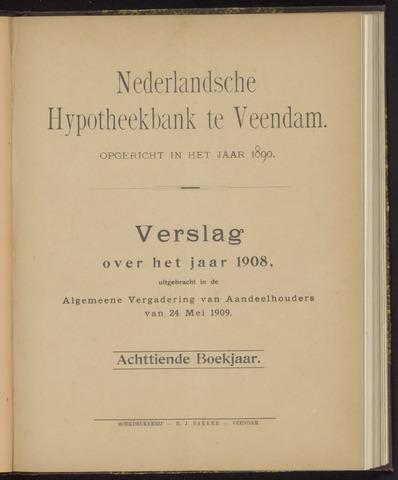 Jaarverslagen Nederlandsche Hypotheekbank 1908