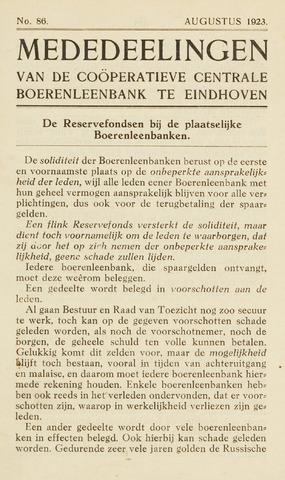 blad 'Maandelijkse Mededelingen' (CCB) 1923-08-01
