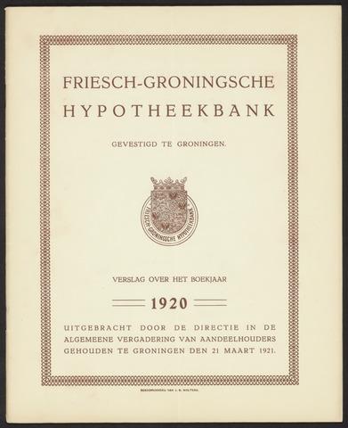 Jaarverslagen Friesch-Groningsche Hypotheekbank / FGH Bank 1920