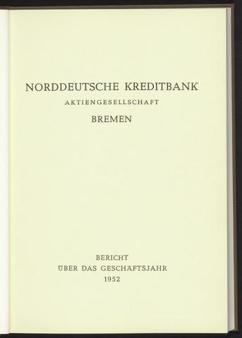 Geschäftsberichte Norddeutsche Kreditbank 1952-01-01