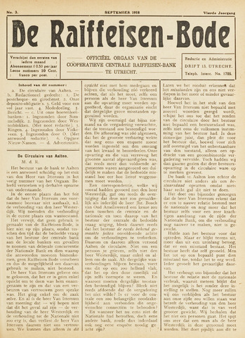 blad 'De Raiffeisen-bode' (CCRB) 1918-09-01
