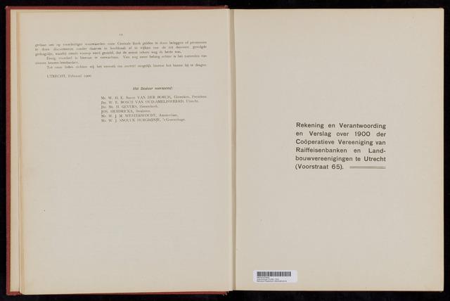 Jaarverslagen Coöperatieve Centrale Raiffeisen-Bank 1900-12-31