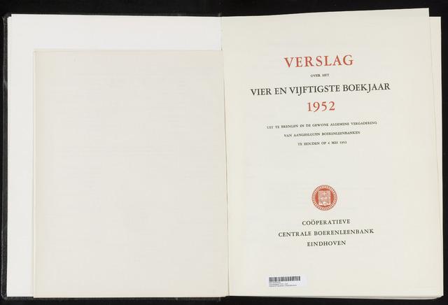 Jaarverslagen Coöperatieve Centrale Boerenleenbank 1952-12-31