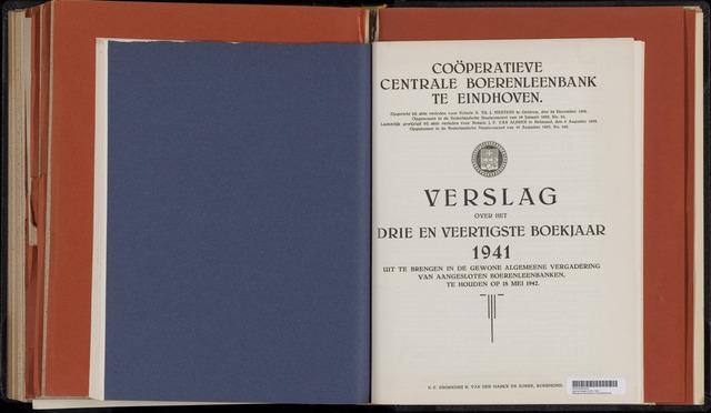 Jaarverslagen Coöperatieve Centrale Boerenleenbank 1941