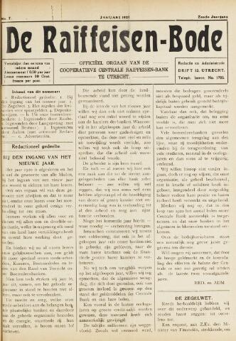 blad 'De Raiffeisen-bode' (CCRB) 1921-01-01