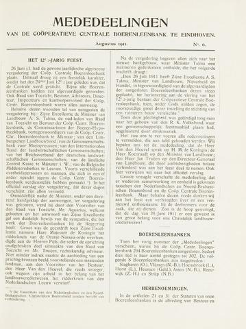 blad 'Mededeelingen' (CCB) 1911-08-01