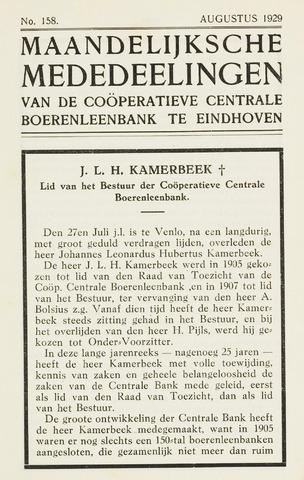 blad 'Maandelijkse Mededelingen' (CCB) 1929-08-01