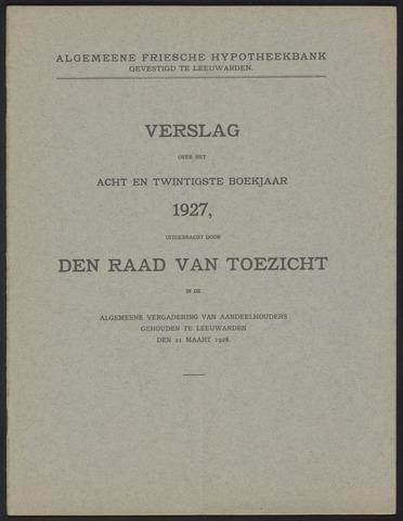 Jaarverslagen Algemeene Friesche Hypotheekbank 1927