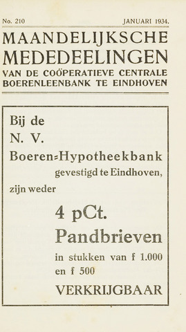 blad 'Maandelijkse Mededelingen' (CCB) 1934