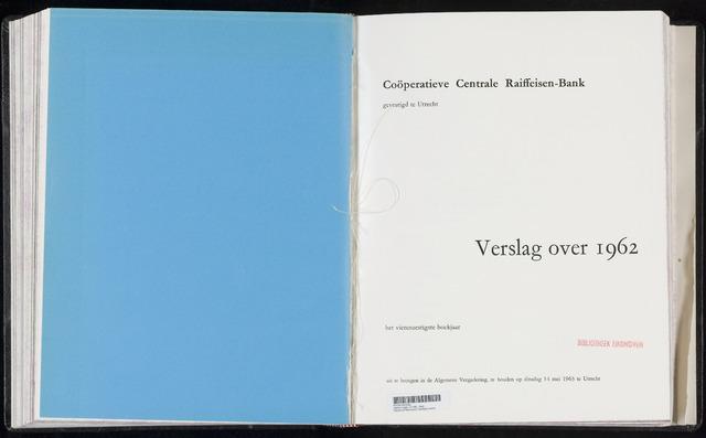 Jaarverslagen Coöperatieve Centrale Raiffeisen-Bank 1962-12-31