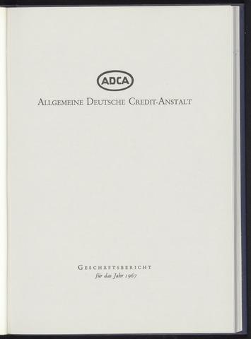 Geschäftsberichte Allgemeine Deutsche Credit-Anstalt / ADCA Bank 1967-01-01
