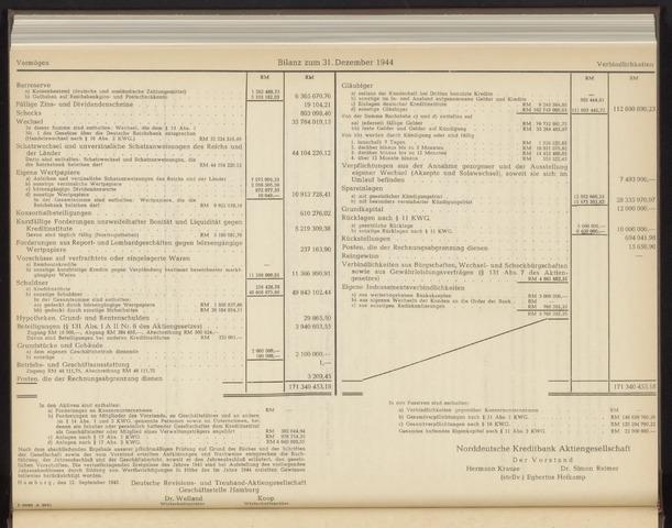 Geschäftsberichte Norddeutsche Kreditbank 1945