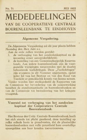 blad 'Maandelijkse Mededelingen' (CCB) 1922-05-01