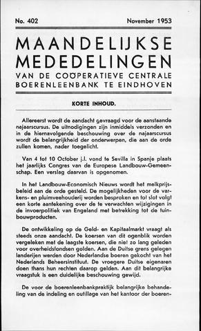 blad 'Maandelijkse Mededelingen' (CCB) 1953-11-01