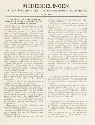 blad 'Mededeelingen' (CCB) 1915