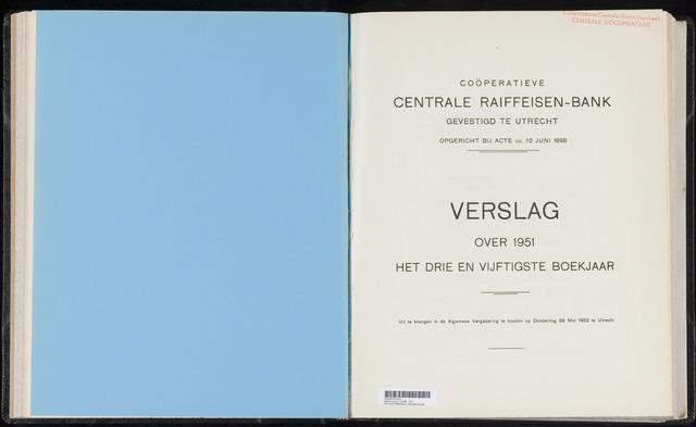 Jaarverslagen Coöperatieve Centrale Raiffeisen-Bank 1951-12-31