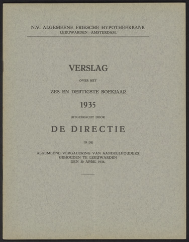 Jaarverslagen Algemeene Friesche Hypotheekbank 1935